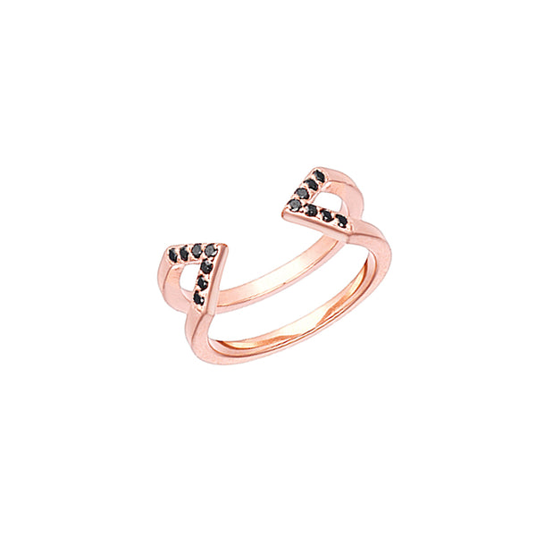 Dagger Ring - Midi | Rose Gold - Black Diamonds