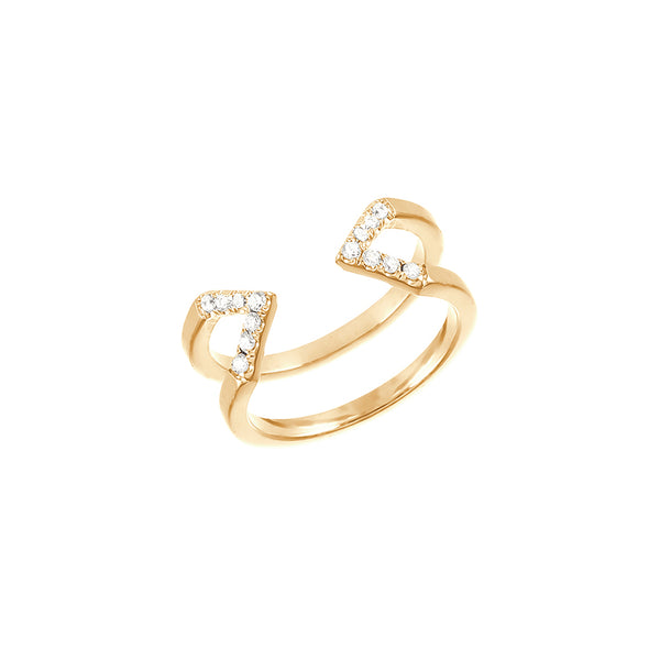 Dagger Ring - Midi | Yellow Gold - White Diamonds