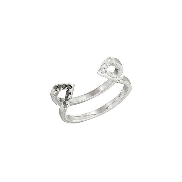 Donna Dagger Ring - Midi | White Gold with Diamonds