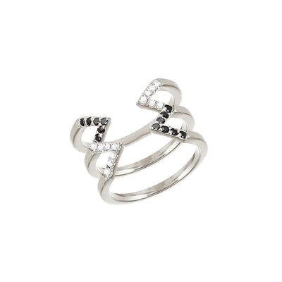 Donna Stacked Dagger Ring - Midi  | White Gold