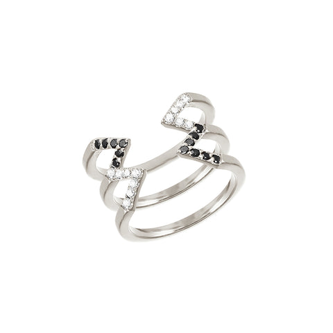 Donna Stacked Dagger Ring - Midi  | White Gold with Diamonds