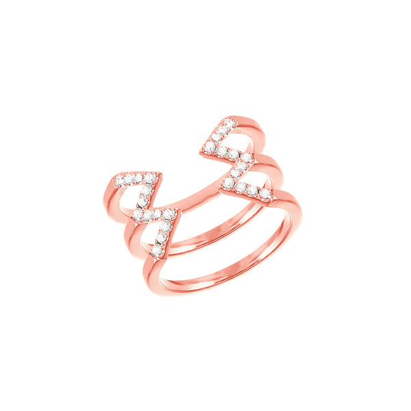 Stacked Dagger Ring - Midi  | 14K Rose Gold with White Diamonds