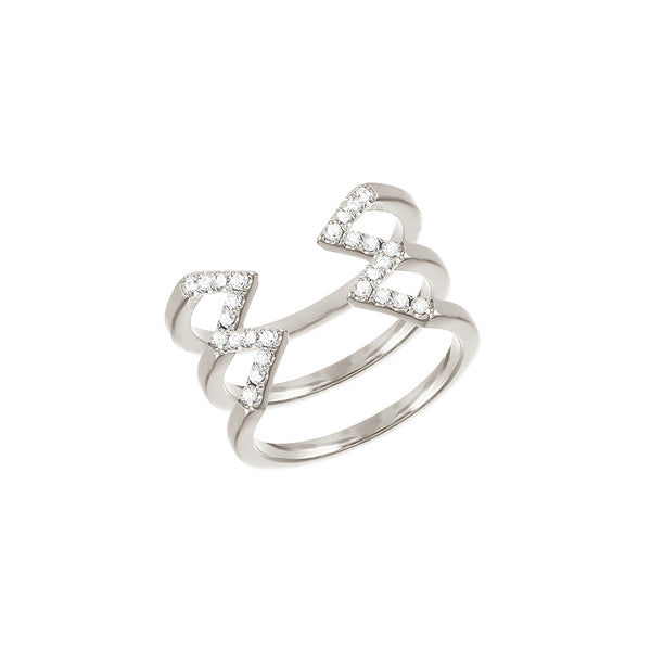 Stacked Dagger Ring - Midi  | 14K White Gold with White Diamonds
