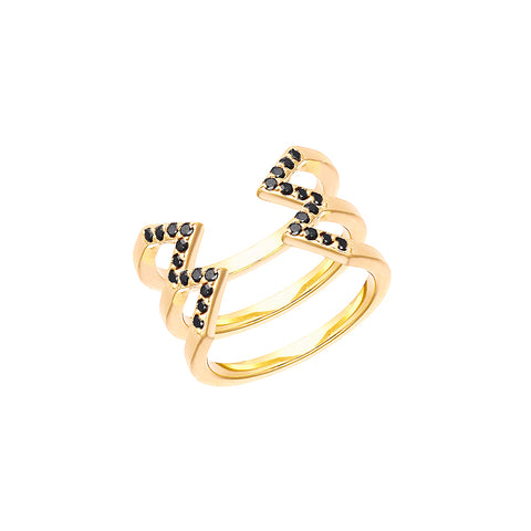 Stacked Dagger Ring - Midi  | 14K Yellow Gold with Black Diamonds