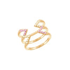 Yellow and Pink Sapphire Stacked Dagger Ring - Midi | Yellow Gold