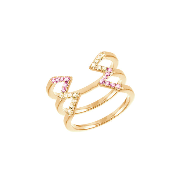 Stacked Dagger Ring - Midi  | Gold with Yellow and Pink Sapphires