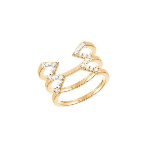 Stacked Dagger Ring - Midi  | 14K Yellow Gold with White Diamonds