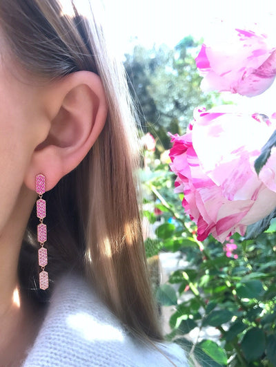 5 Tiered Ombre Pink Sapphire Marquis Earrings | Rose Gold