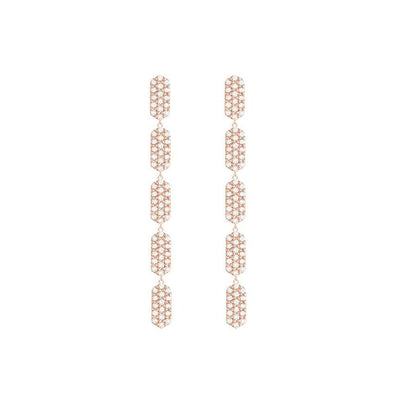 5 Tiered All Diamond Marquis Earrings | Rose Gold  Earring Rachel Katz Jewelry
