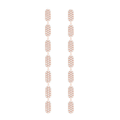 7 Tiered All Diamond Marquis Earrings | Rose Gold  Earring Rachel Katz Jewelry