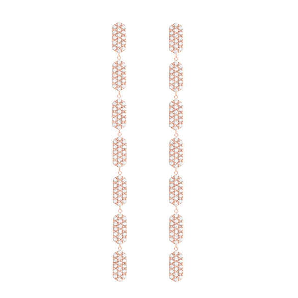 All Diamond 7 Tier Marquis Dangle Earrings | Rose Gold