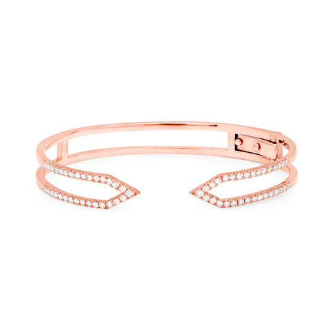 Diamond Dagger Cuff with Hinge  | Rose Gold