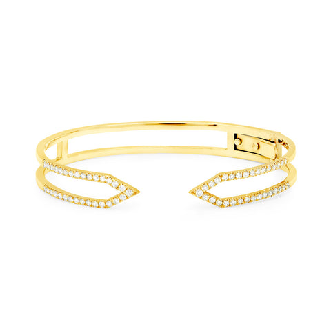 Diamond Dagger Cuff with Hinge  | Yellow Gold