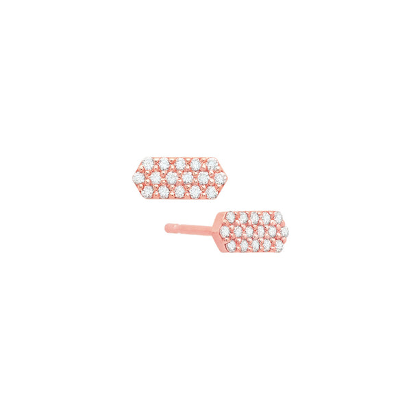 Diamond Marquis Stud Earrings | 14K Rose Gold