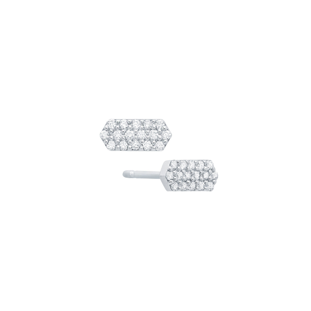 Diamond Marquis Stud Earrings | 14K White Gold