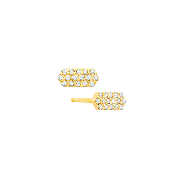Diamond Marquis Stud Earrings | 14K Gold