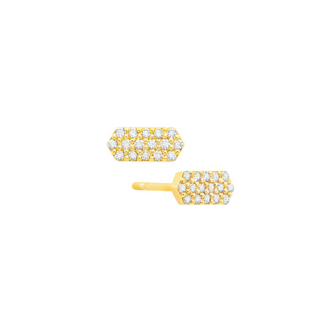 Diamond Marquis Stud Earrings | Gold