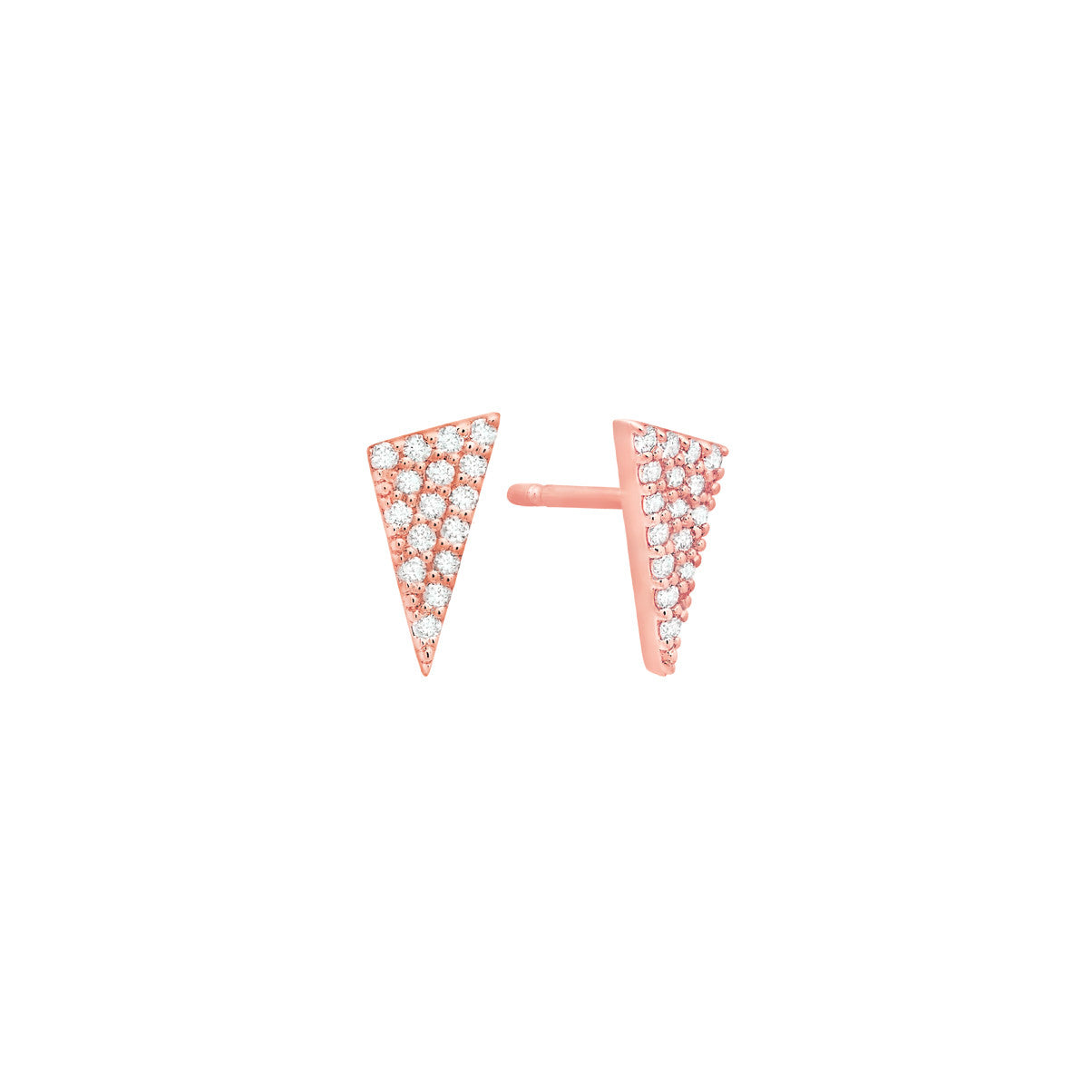 Diamond Triangle Stud Earrings | Rose Gold