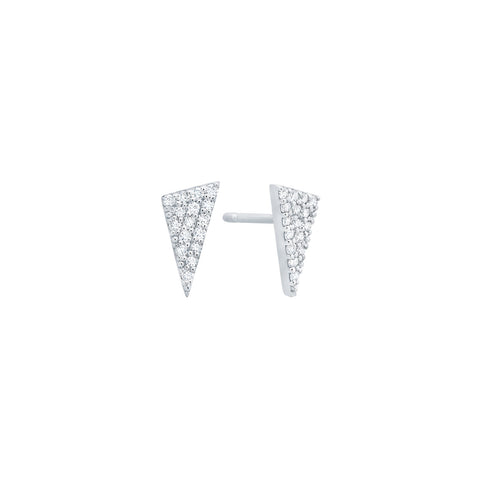 Diamond Triangle Stud Earrings | White Gold