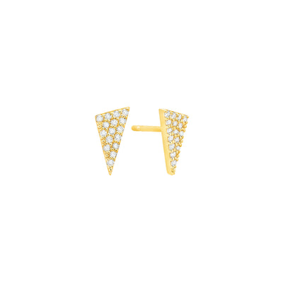 Diamond Triangle Studs | Yellow Gold