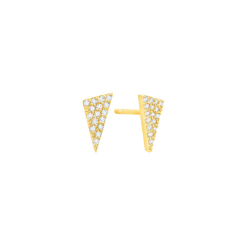 Diamond Triangle Stud Earrings | Gold