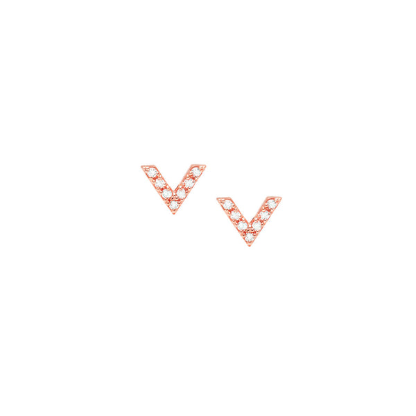 Diamond Dagger Stud Earrings | 14K Rose Gold