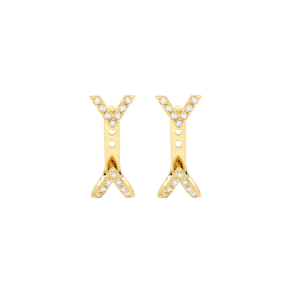 f721a3e8d Diamond Dagger Studs with Ear Jackets | Gold | Rachel Katz Jewelry
