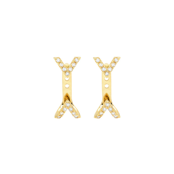 Diamond Dagger Studs with Ear Jackets | Gold