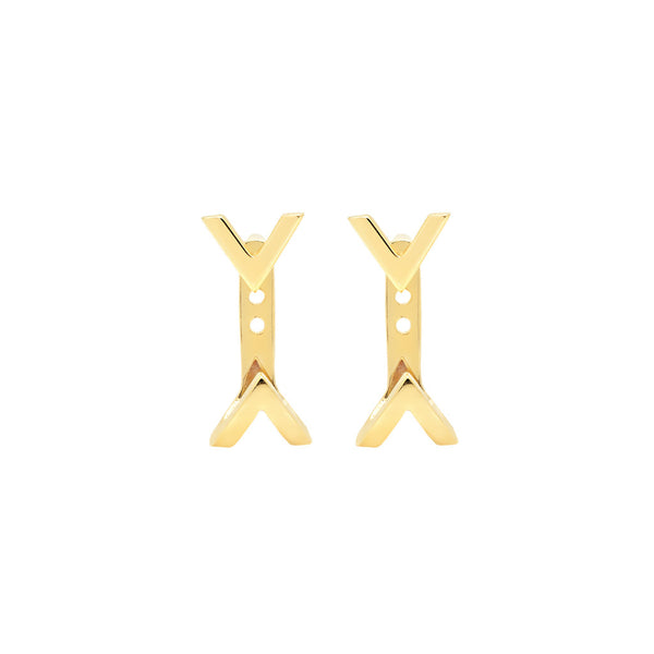 Dagger Studs with Ear Jackets | Gold