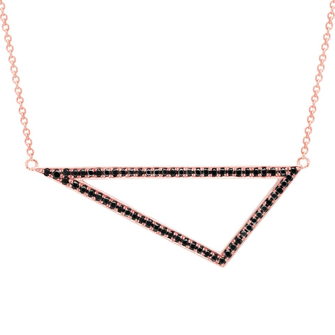 Black Diamond Triangle Necklace | 14K Rose Gold