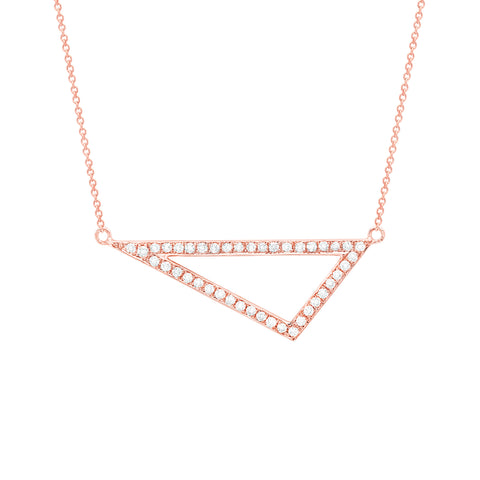 Diamond Medium Triangle Necklace | 14K Rose Gold