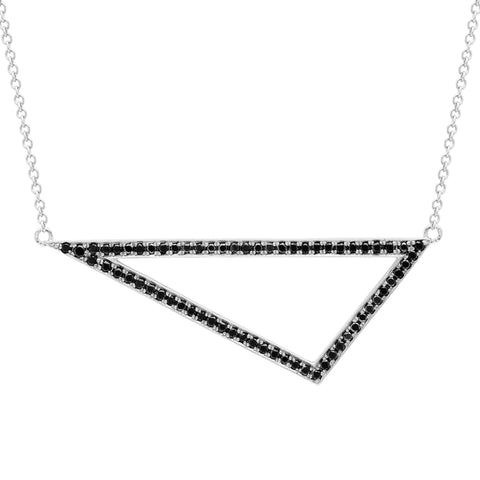 Black Diamond Triangle Necklace | 14K White Gold