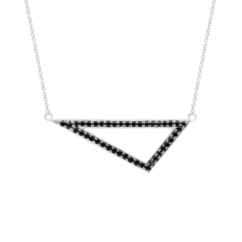 Black Diamond Medium Triangle Necklace | 14K White Gold