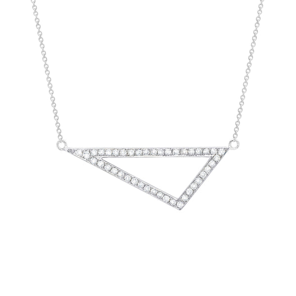 Diamond Medium Triangle Necklace | White Gold