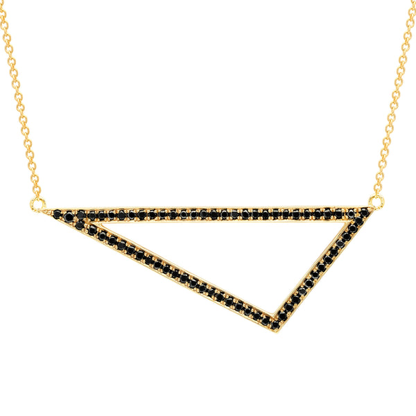 Black Diamond Triangle Necklace | 14K Yellow Gold