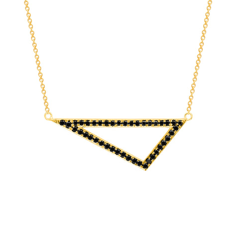 Black Diamond Medium Triangle Necklace | 14K Yellow Gold