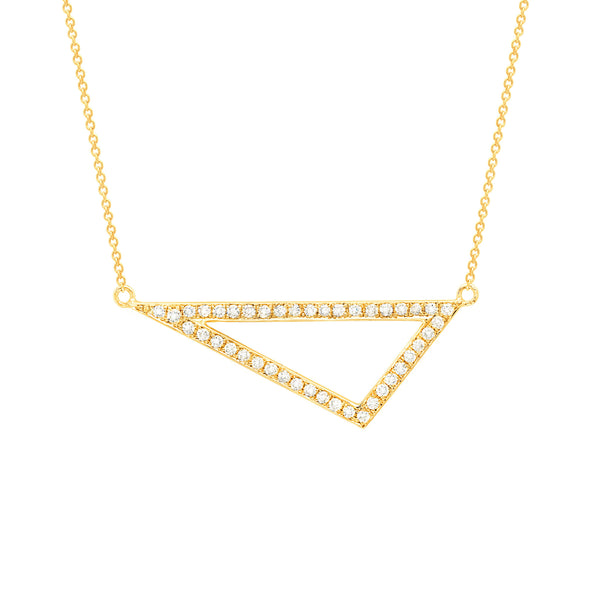 Diamond Medium Triangle Necklace | 14K Yellow Gold