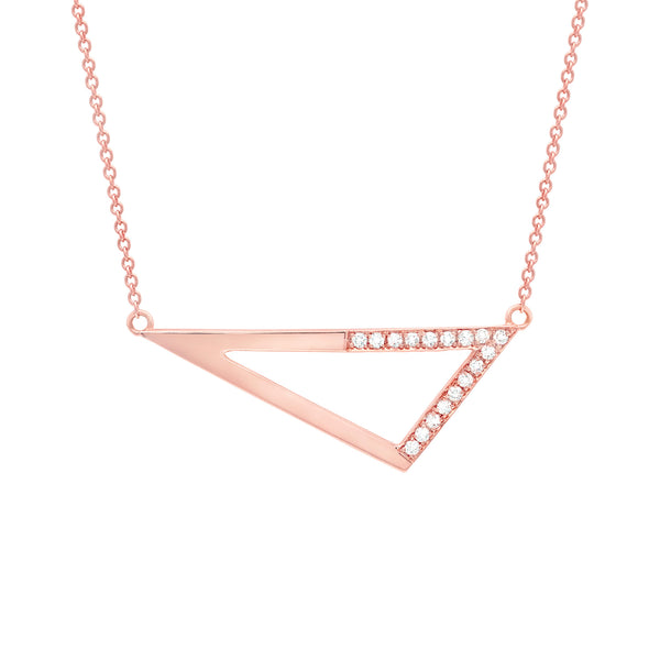 Medium Half Diamond Triangle Necklace | Rose Gold