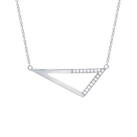 Medium Half Diamond Triangle Necklace | White Gold