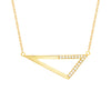 Medium Half Diamond Triangle Necklace | Yellow Gold