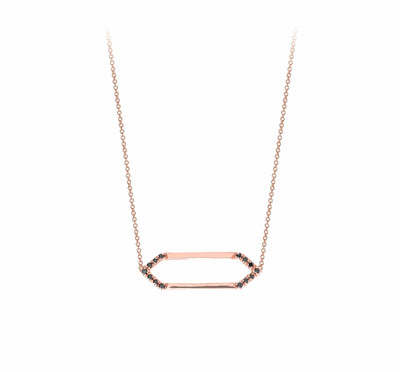 Mini Marquis Necklace | Rose Gold with Black Diamonds on Points