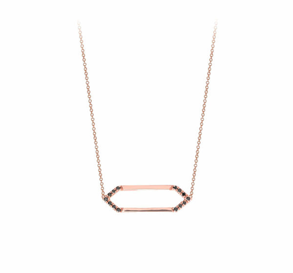 Mini Marquis Necklace | 14K Rose Gold with Black Diamonds