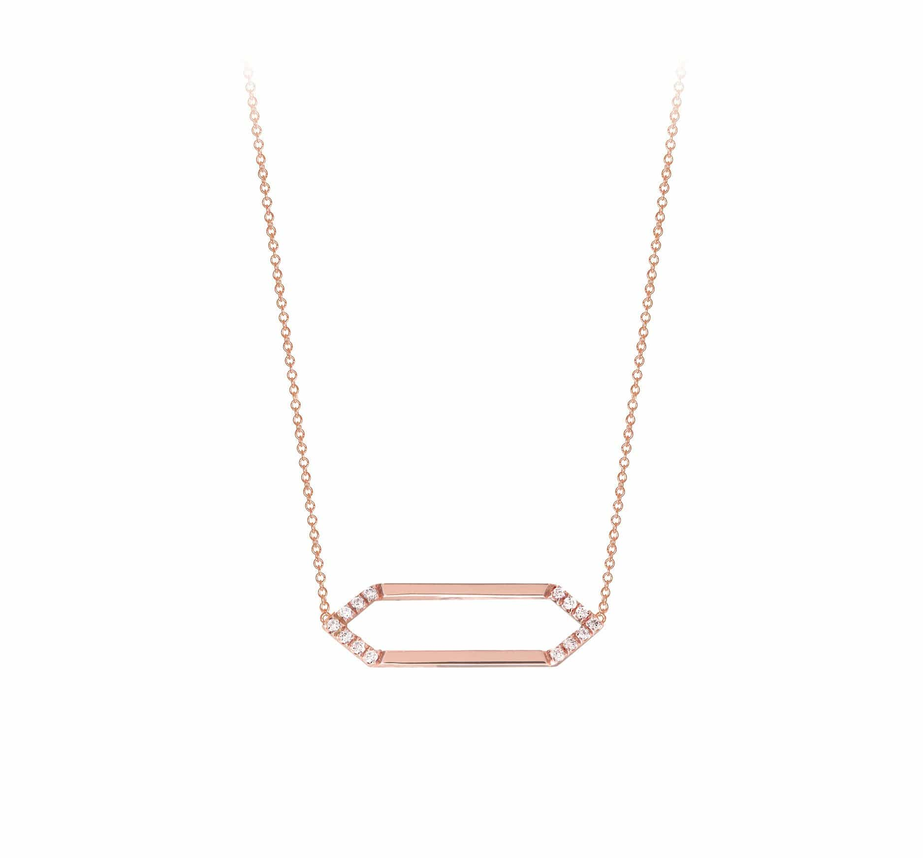 Mini Marquis Necklace | Rose Gold with Diamonds on Points