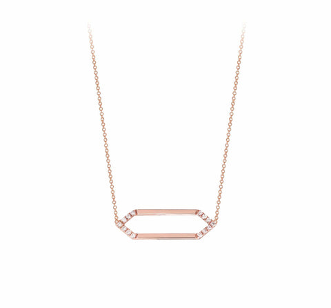 Mini Marquis Necklace | 14K Rose Gold with White Diamonds
