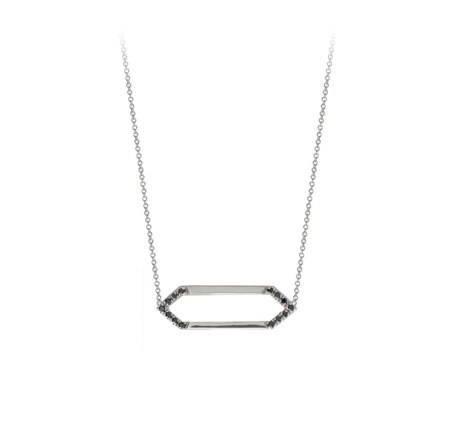 Mini Marquis Necklace | 14K White Gold with Black Diamonds