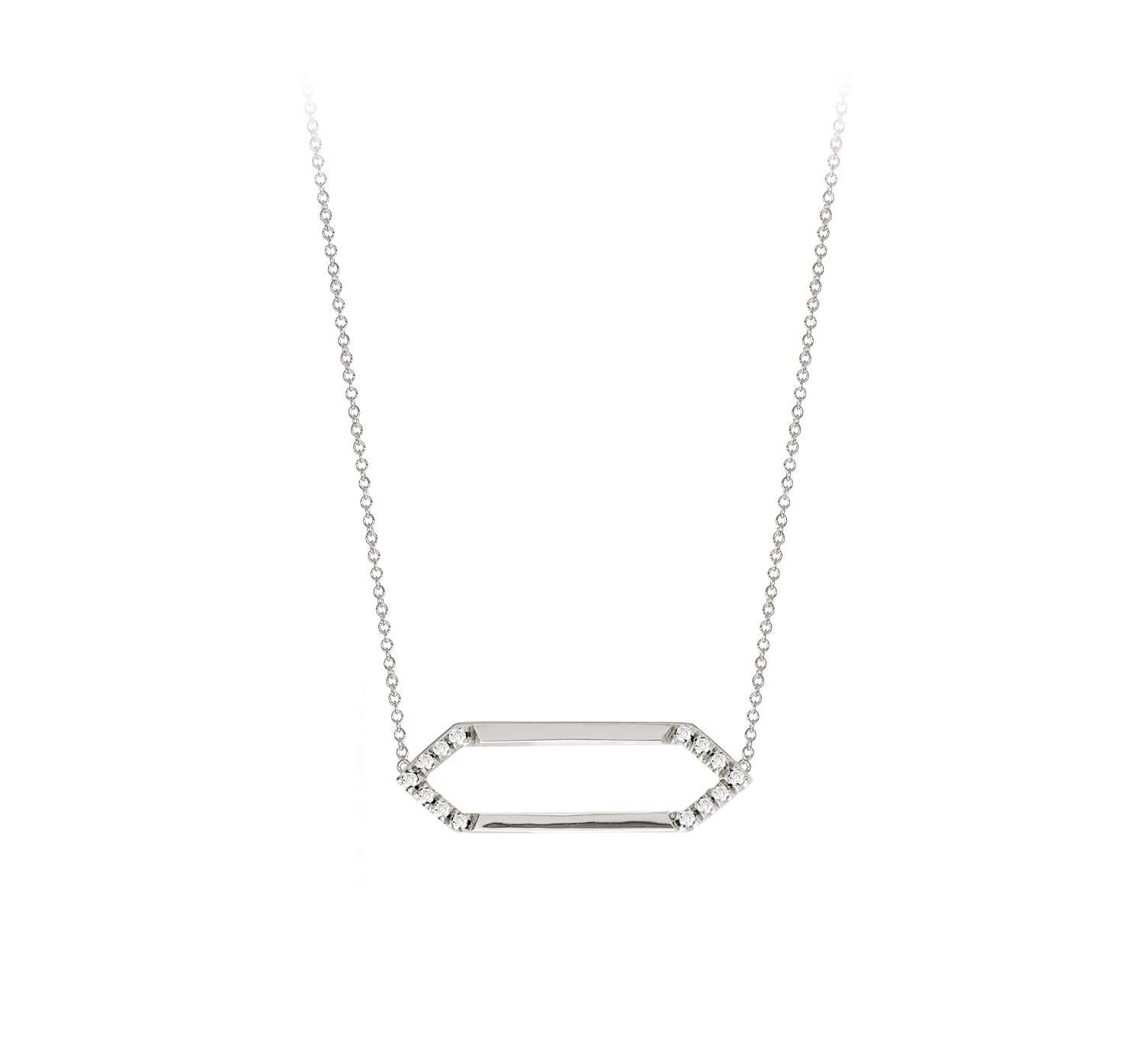 Mini Marquis Necklace | White Gold with Diamonds on Points