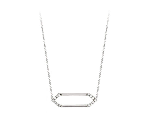 Mini Marquis Necklace | 14K White Gold with White Diamonds