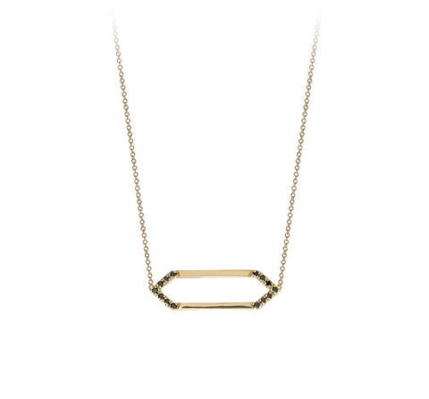 Mini Marquis Necklace | 14K Gold with Black Diamonds