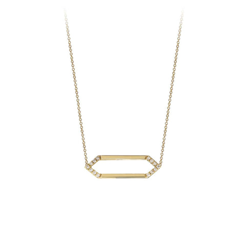 Mini Marquis Necklace | 14K Gold with White Diamonds