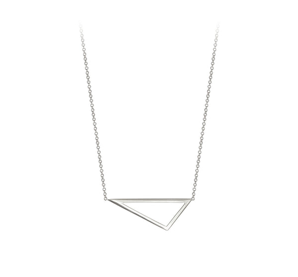 Mini Triangle Necklace | 14K White Gold